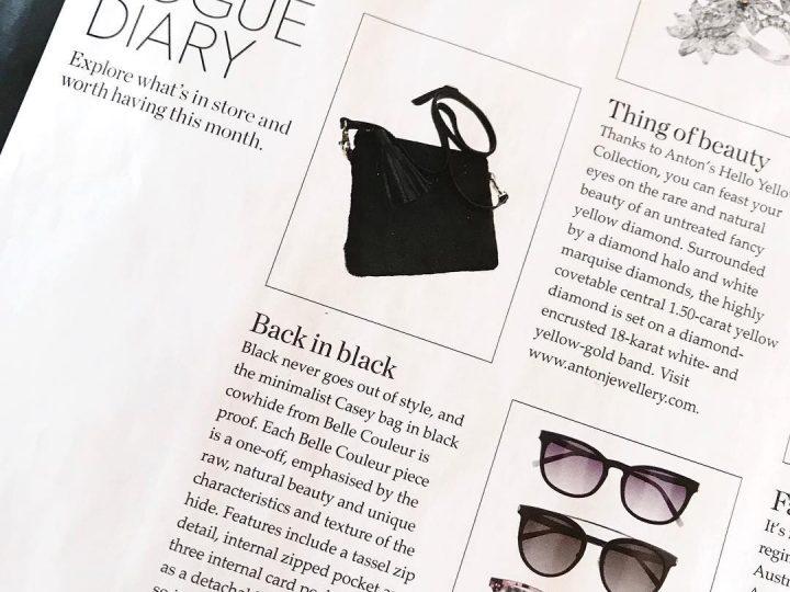 Black Hide Casey Bag featured in Vogue Australia Diary